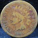 1881 Indian Head Cent Penny Good (GD) - SKU 77USP