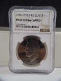 1976 S Eisenhower Clad Dollar Type 2 PF 67 Ultra Cameo SKU 468G