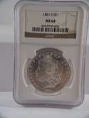 1881 S Morgan Silver Dollsr MS 64 NGC SKU 499G