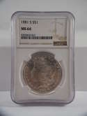 1881 S Morgan Silver Dollar MS 64 NGC SKU 500G