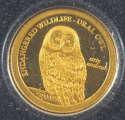 2011 1/2 gram Gold Mongolia Gold 500 Togrog Endangered Ural Owl (In Capsule)