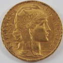1908 1908 France Gold 20 Francs French Rooster AU