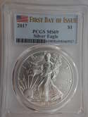 2017 American Silver Eagle First Day of Issue MS 69 PCGS - SKU 725G