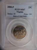 2000 P Virginia Quarter Clad MS67 PCGS - SKU 788G