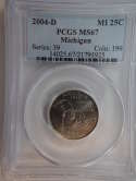 2004 D Michigan Quarter Clad MS67 PCGS - SKU 801G