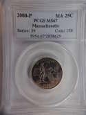 2000 P Massachusetts Quarter Clad MS67 PCGS - SKU 805G