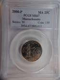 2000 P Massachusetts Quarter Clad MS67 PCGS - SKU 806G