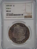 1878 P 8TF Morgan Silver Dollar VAM 3 MS62 DPML Like NGC - SKU 834G