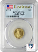 2018 $5 Gold Eagle First Strike Blue Flag Label PCGS MS 70 Coin