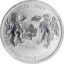 2012 3/4 oz Canada Silver War of 1812 Coin (BU) with Heavy Spotting