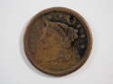 1856 Braided Hair Large Cent Slanted 5 Fine (F) Penny SKU 10021USC