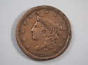 1839 Braided Hair Large Cent Booby Head Very Fine (VF) Penny SKU 10055USC