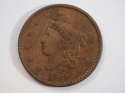 1834 Coronet Head Cent Large Date-Small Stars-Medium Letters Very Fine (VF)