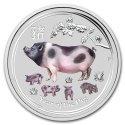 2019 1/4 oz Australia Silver Colorized Year of the Pig Series II BU (In Capsule)