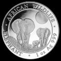 2014 1 oz Somalia Silver Elephant BU