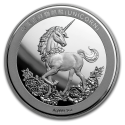 2019 1 oz China Silver Unicorn 25th Anniversary Restrike (PU)