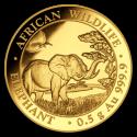 2019 1/2 g Somalia Gold African Elephant BU