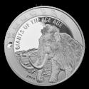 2019 1 oz Republic of Ghana Silver Woolly Mammoth (BU)