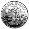 2015 1 oz Somalia Silver Elephant Coin Gold Gilded