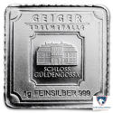 Lot of 5 - 1 gram Silver Bar - Geiger Edelmetalle (Original Square Series)