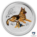 2018 1 oz Australia Silver Colorized Lunar Year of the Dog Coin BU (In Capsule)