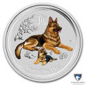 2018 2 oz Australia Silver Colorized Lunar Year of the Dog Coin BU (In Capsule)