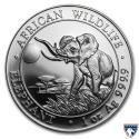 2016 1 oz Somalia Silver Elephant Coin (BU) with Spotting