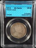 1910 50C Canada Silver Half Dollar King Edward VII Victorian Leaves H VG CCCS