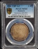 1906 Silver 2 Kroner Accession of Frederick VII VBP GJ Denmark MS66 PCGS  KM 803